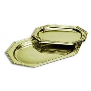 Bandeja Plastico Oro Octogonal