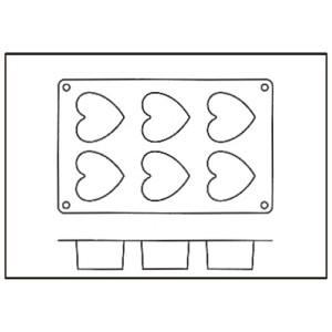 Molde de Silicona con Forma de 6 Corazones