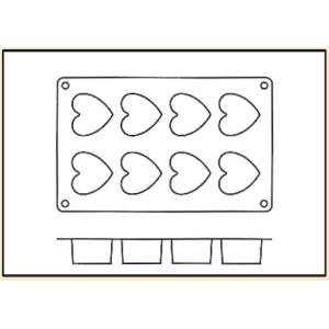 Molde con Forma de 8 Corazones de Silicona