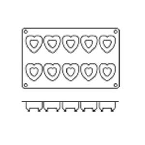 Molde con Forma de 10 Savarín de Corazón de Silicona