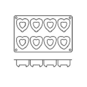 Molde para 8 Savarín en Forma de Corazón de Silicona