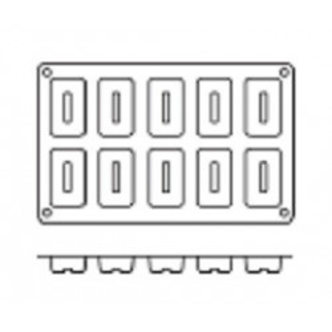 Molde de Silicona con Forma de 10 Savarín Rectangulares