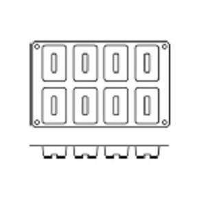 Molde de Silicona Tamaño Grande para 8 Savarín Rectangulares