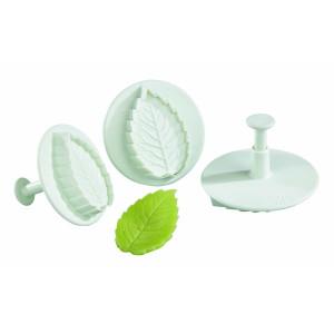 Comprar Lote de 3 Cortapastas de Plástico con Pulsador y Forma de Hoja de Rosa