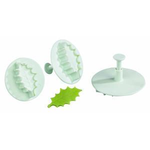 Comprar Juego de 3 Corta-Masas de Plástico de hoja de Acebo con Pulsador