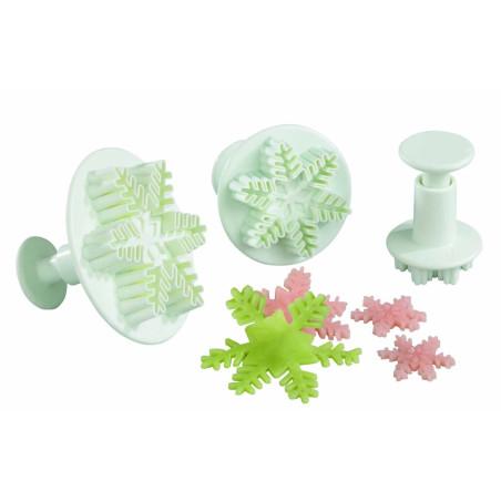 Comprar Juego de 3 Corta-Pastas de Plástico con Forma de Copo de Nieve y Pulsador