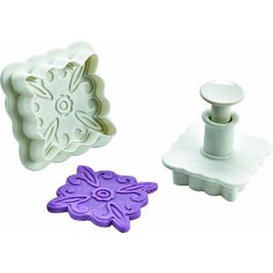 Conjunto de 2 corta pastas con forma de cuadrado decorativo
