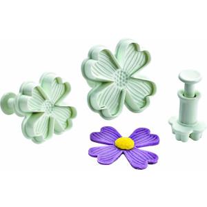 Conjunto de 3 corta pastas con de flor y pulsador