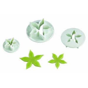 Conjunto de 3 Corta Pastas de Plástico en Flor con Forma de Estrella