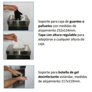 Soporte dispensador de guantes y gel