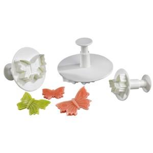 Conjunto de 3 Corta Masas de Plástico con Forma de Mariposa y Pulsador