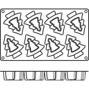 Molde de Silicona con Forma de 8 Árboles de Navidad