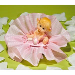 Regalo para Fiesta de Nacimiento del Bebé en Tul Rosa Vichy