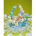 Comprar Regalos de Bautizo con Bebé en Cestita de Flores Azules Profesional