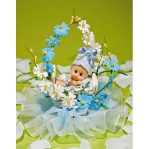 Comprar Regalos de Bautizo con Bebé en Cestita de Flores Azules