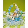 Regalos de Bautizo con Bebé en Cestita de Flores Azules