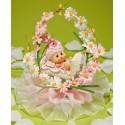 Comprar Regalos de Bautizo con Bebé en Cuna de Flores Rosas Profesional