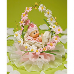 Comprar Regalos de Bautizo con Bebé en Cuna de Flores Rosas