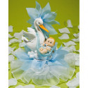 Comprar Figura de Cigüeña con Bebé y Tul Color Azul Profesional