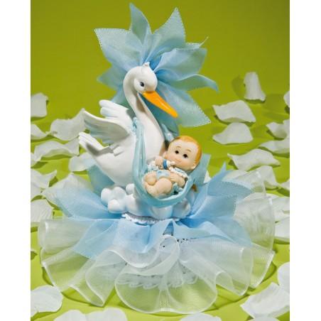 Comprar Figura de Cigüeña con Bebé y Tul Color Azul