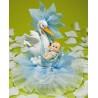 Figura de Cigüeña con Bebé y Tul Color Azul