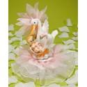 Comprar Figura de Cigüeña con Bebé y Tul Color Rosa Profesional