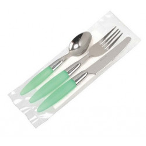 Comprar Set de 3 Cubiertos + Servilleta + Sal + Pimienta Inox Serie Aqua Verde 6/1