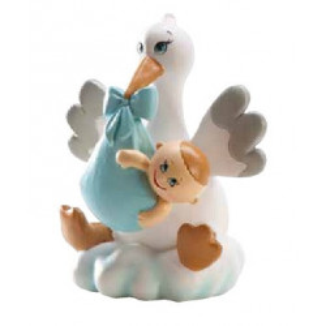 Figura de Cigüeña Sobre Nube Azul para Bautizo