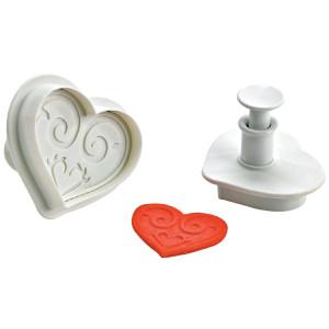 Comprar Conjunto 2 cortadores con forma de corazón y pulsador