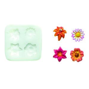 Molde de silicona flores variadas