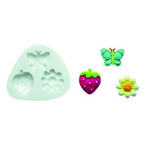 Molde de silicona mariposa, flor y fresa