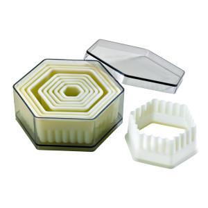 Comprar Caja de 9 Cortadores de Masa Hexagonales Ondulados