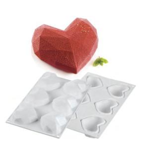 Molde Silicona 6 Mini Corazones Origami