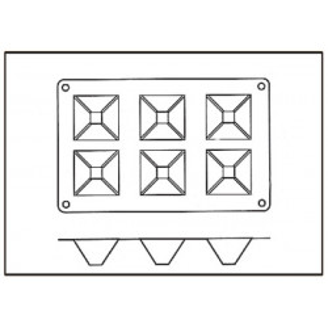 Molde con Forma de 6 Pirámides de Silicona