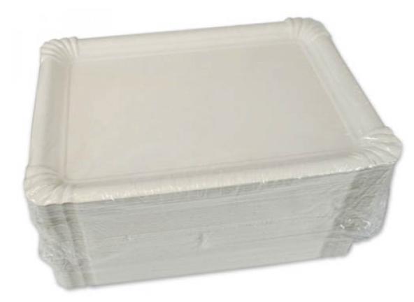 Bandejas rectangulares de Cartón blancas